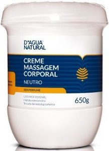 D'ÁGUA NATURAL Massoterapia Creme de Massagem Neutro Sem Perfume 650g