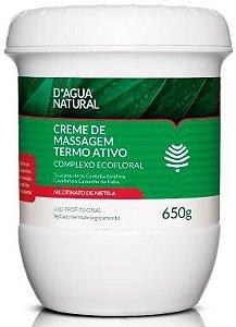 D'Água Natural Creme de Massagem Termo Ativo Complexo Ecofloral 650g