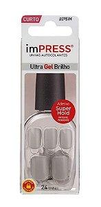 KISS NEW YORK Unhas Postiças ImPRESS em Gel Autocolante Curta Grey Syrup 24Un (BIP504)
