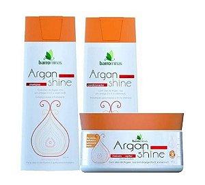 BARROMINAS Argan Shine Kit Cabelo Danificado Shampoo + Condicionador + Máscara 250g