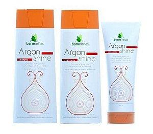 BARROMINAS Argan Shine Kit Cabelo Danificado Shampoo + Condicionador + Creme para Pentear