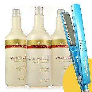 "Combo Babyliss Pro Prancha Nano Titanium 1+1/4"" 230 + Escova Progressiva G.Hair Alemã 3x1L"