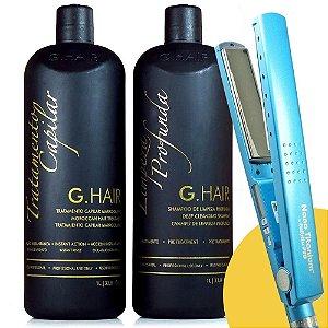 """Combo Babyliss Pro Prancha Nano Titanium 1+1/4"""" + Escova Progressiva G.Hair Marroquina 2x1L"""