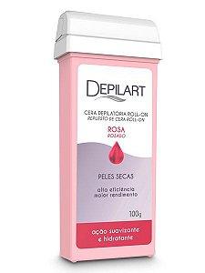 Depilart Cera Depilatória Roll-on com Rosa para peles secas Refil 100g
