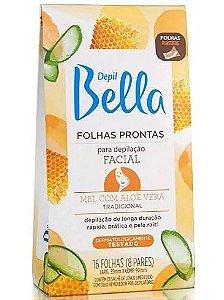 DEPIL BELLA Folhas Prontas para Depilação Facial Mel com Aloe Vera 16un