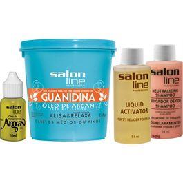 Salon Line Guanidina Argan - Regular Cabelos Médios ou Finos - 218g
