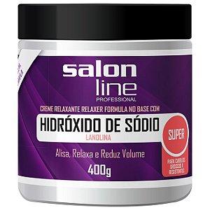 SALON LINE Hidróxido Sódio Lanolina Super Cabelos Grossos e Resistentes 400g