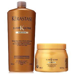 Kérastase Elixir Ultime Kit Oléo-Riche Bain 1L + Masque 500ml - Cabelos Grossos