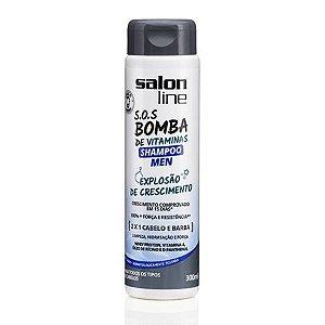 Salon Line SOS Bomba Shampoo Men 2 x 1 - Explosão de Crescimento - 300ml