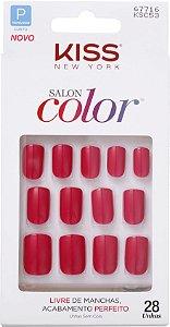KISS NEW YORK Unhas Postiças Salon Color Curto Angel 28Un (KSC53BR)