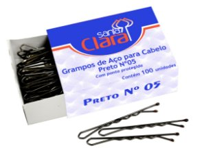 Santa Clara Grampo para Cabelo de Aço n°5 Preto 100un (122)