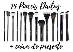 Dailus Kit 14 Pinceis de Maquiagem + Caixa de Presente