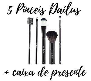 Dailus Kit 5 Pinceis de Maquiagem + Caixa de Presente