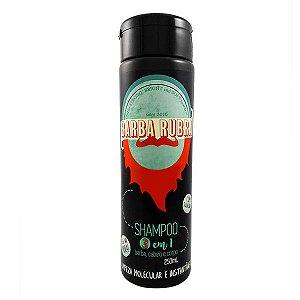 Barba Rubra Shampoo 3 em 1 para Cabelo, Barba e Corpo 250ml