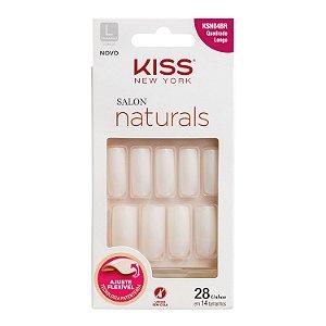 KISS NEW YORK Unhas Postiças Salon Naturals Quadrado Longo 28un (KSN04BR)