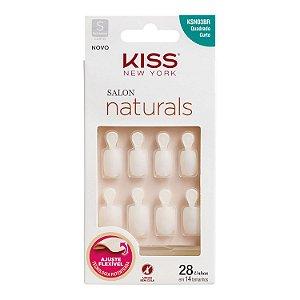 Kiss New York Unhas Postiças Salon Naturals Quadrado Curto com Aba 28un (KSN03BR)