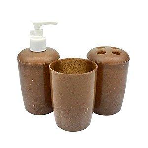 SANTA CLARA Kit para Banheiro Estilo Madeira 3 peças (3531)