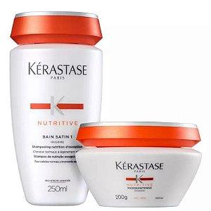 Kérastase Nutritive Bain Satin 1 250ml + Masque Masquintense Cabelos Finos 200ml