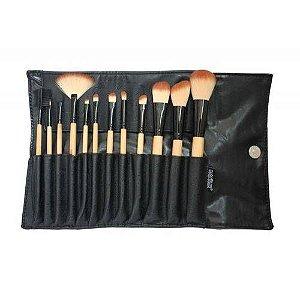 Macrilan Estojo com 12 Pincéis Profissionais para Maquiagem KP1-2G