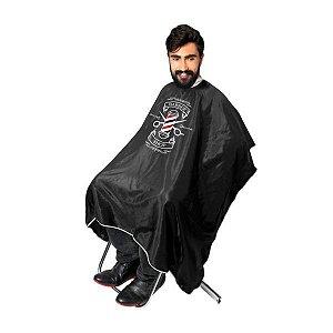 """SANTA CLARA Capa para Barbeiro com Impressão """"Barber Shop"""" de Cetim Preta (4407)"""