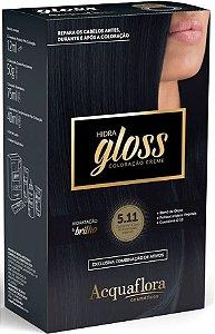 ACQUAFLORA Coloração Permanente Hidra Gloss 5.11 Castanho Claro Acinzentado Intenso