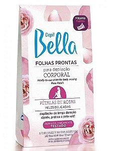DEPIL BELLA Folhas Prontas para Depilação Corporal com Pétalas de Rosas 16Un