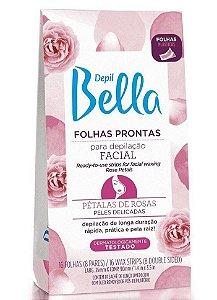 DEPIL BELLA Folhas Prontas para Depilação Facial Pétalas de Rosas 16Un
