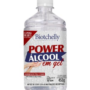 BIOTCHELLY Álcool Gel 70º Power Higienizador de Peles e Mãos 450g