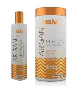 MELIVE Argan Kit Shampoo 300ml + Máscara Capilar de Hidratação 1Kg