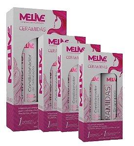 MELIVE Ceramidas Kit Shampoo + Condicionador de Hidratação 300ml 6un
