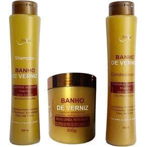 NAXOS Banho de Verniz Kit Shampoo + Condicionador + Máscara Capilar 500g