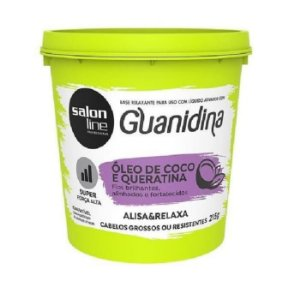 SALON LINE Guanidina Óleo de Coco e Queratina Creme de Relaxamento Super para Cabelos Grossos ou Resistentes 215g