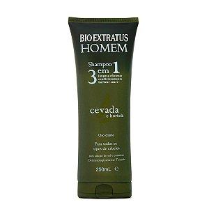 Bio Extratus Homem Shampoo 3 em 1 Cabelo, Barba e Bigode com Cevada e Hortelã 250ml