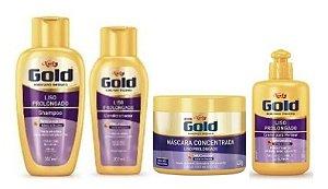 NIELY Gold Liso Prolongado Kit Shampoo + Condicionador + Máscara Capilar + Creme para Pentear