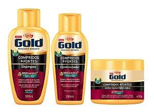 NIELY Gold Compridos + Fortes Kit Shampoo + Condicionador + Máscara Capilar