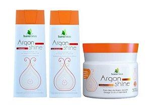 BARROMINAS Argan Shine Kit Cabelo Danificado Grande Shampoo + Condicionador + Máscara 500g