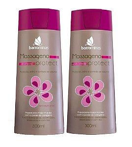 BARROMINAS Massageno Protect Kit Cabelo Ressecado com Frizz Shampoo + Condicionador