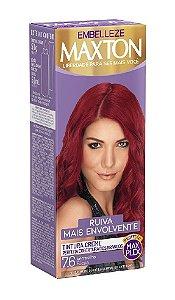 MAXTON Coloração Permanente Kit 7.6 Vermelho Fúcsia Ruiva Mais envolvente