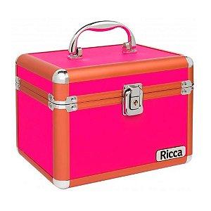 Ricca Maleta de Maquiagem Alumínio Rosa Médio - 3097