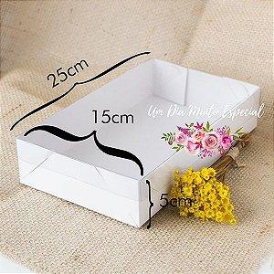 Caixa de Papel e Acetato Branca 25x15x5