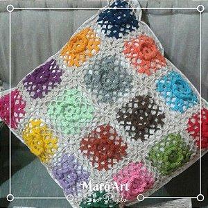 Almofadas de crochê colorida