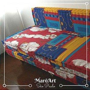 Sofá de Paletes com rodízios e Futons estampados