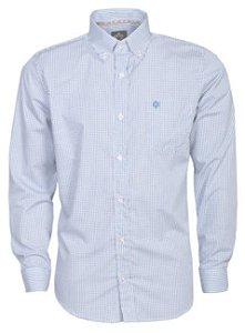 Camisa Tuff Manga Longa Xadrez Azul Logo Royal
