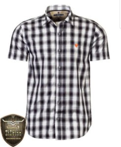 Camisa Made in Mato Xadrez Manga Curta Preta e Branca