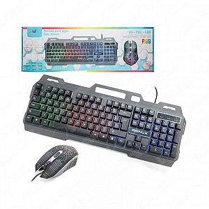 Teclado e Mouse Gamer USB Led RGB Luminos com fio