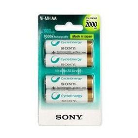 4 Pilhas AA Recarregáveis Sony 2000
