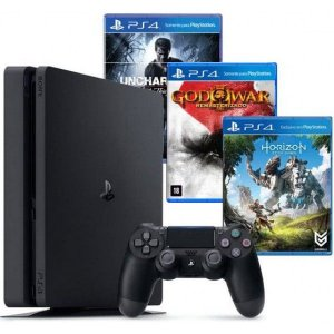 PlayStation 4 Slim 500GB + 03 Jogos (Horizon Zero Dawn / DriveClub / Uncharted 4 )