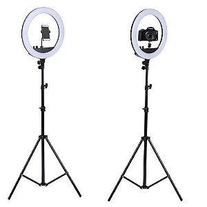 Iluminador Câmera e Celular com Tripe Ring Light 10 Polegadas