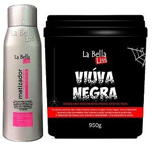 Kit Matizador No Chuveiro 500ml + Viúva Negra Máscara De Reconstrução 950g La Bella Liss