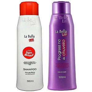 Liso Japa Shampoo que Alisa 500ml + Progressiva No Chuveiro 500ml La Bella Liss Original